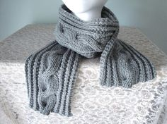 Silver Gray Cable Scarf Merino Wool Hand Knit Women & by Girlpower, $50.00