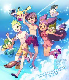 Cilan/Dento (Pokémon), Ash/Satoshi (Pokémon), Pikachu, Iris (Pokémon), ... (by Abeno Hinata)