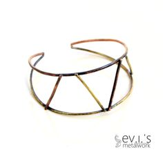 Mix Metal Abstract Bracelet Cuff Brass Copper by evismetalwork, €25.00