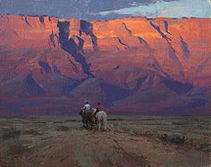 Jeremy Lipking -  Riders Under Vermilion Cliffs, oil, 8 x 10 inches