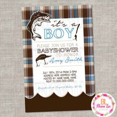 Fishing Baby Shower Invitation Digital File by BlaineLeeCo