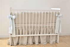Linen Crib  bedding gender neutral gathered skirt by MoodsStore