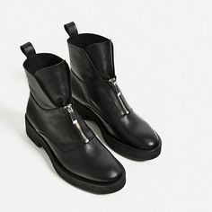 Image 6 of LEATHER ANKLE BOOTS WITH ZIP from Zara