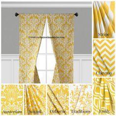 Modern Yellow Curtain Panels Modern Geometric Chevron Damask Stripe Drapery Window Treatments Set Pair