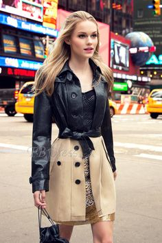 Color Block Double-breasted Lapel Trench Coat