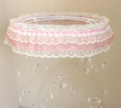 Crystal Mobile with Lace Trim, Crystal Baby Mobile, pink baby mobile on Etsy, $90.00