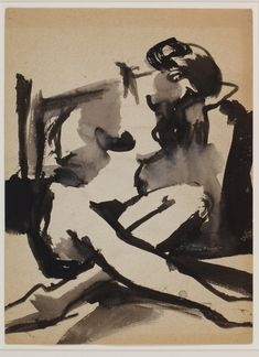 Elmer Bischoff, brush and wash, Untitled (Female Nude with Crossed Legs)