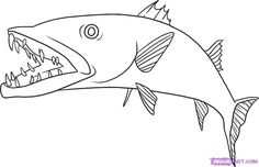 How To Draw A Barracuda Step 6