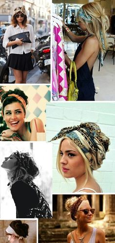 There are so many ways to wear scarves in your hair. Check these out! My absolute fav. is the bandana made into a headband and tied up top!