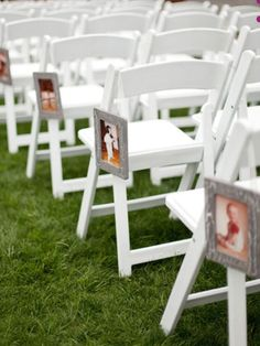 Put pictures of you and the groom growing up on the aisles!