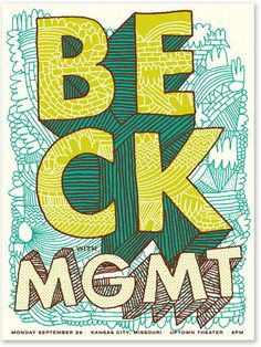 Beck & MGMT Concert Poster at the Uptown Theater- Kansas City Sep 2008 hand made silkscreen print on nice heavy paper poster measures 18 inches x 24 inches hand signed & numbered edition of 225 artist: Tad Carpenter -- Event Poster Ideas & Templates Rock Posters, Band Posters, Concert Posters, Pochette Cd, Event Poster Design, Ligne Claire, Silk Screen Printing, Looks Cool, Art Music