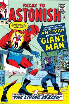 After some laboratory experiments, Ant Man alias Henry Pym get the right way to transform into Giant Man (1963 - Tales To Astonish #49)
