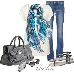 blue scarf, created by stacy-gustin.polyvore.com
