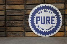 Vintage 1940's Porcelain Pure Gasoline Sign.
