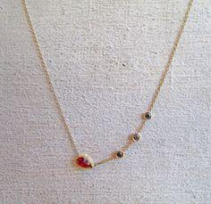 Rose cut ruby and black diamonds necklace - Sarah Perlis