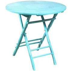 Display a vase of sunflowers or your favorite objet d�art atop this eye-catching design, boasting chic style and coastal-inspired appeal.  Product: TableConstruction Material: Bamboo and rattanColor: Antiqued turquoiseFeatures:  Folds up for convenient storagePerfect table for dining, working, doing homework and more Dimensions: 29 H x 30 Diameter