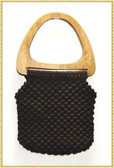 70s Black Macrame Purse with Groovy Wooden Handles