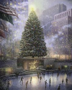 Beautiful painting by Thomas Kinkade. Rockafellow square at xmas.