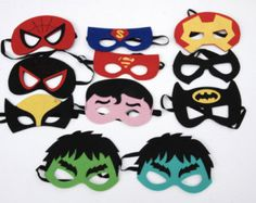 20 Party Favors Super Hero Felt Mask set/Thor/Iron man/Capitan America/Spider man/Batman/Cat woman/Super man/Costume/Dressing up