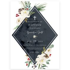Winter Florals Baptism Invitation | Forever Your Prints