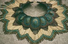 Heidi Kummli How long did it take to lay it out so precisely? Beautiful pattern and colour saturation. Bead Embroidery Jewelry, Beaded Embroidery, Beaded Jewelry, Handmade Jewelry, Beaded Necklace, Collar Necklace, Semi Precious Beads, Bead Art, Bead Weaving