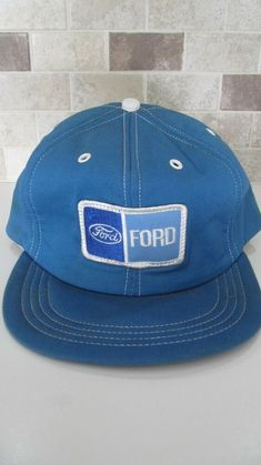 706f218dc Vintage snap back trucker hat Ford patch light blue. #fashion #clothing  #shoes