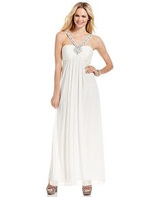 Xscape Dress, Sleeveless Beaded Ruched Gown - Juniors Prom Dresses - Macy's