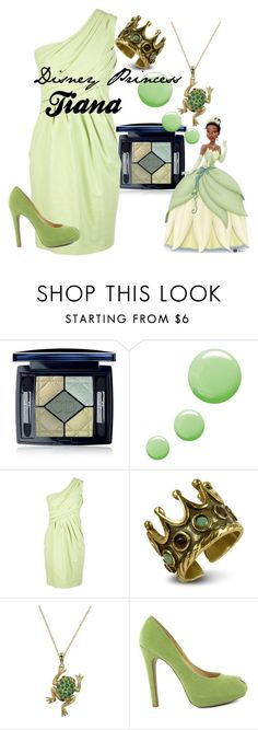 """""""Disney Princess Tiana"""" by amarie104 ❤ liked on Polyvore featuring Christian Dior, Topshop, Moschino Cheap & Chic and Alcozer & J"""