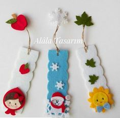 Handcrafted at home, recycling projects, DIY / DIY projects . - Home-made crafts, recycling projects, DIY / DIY projects and hobbies. Felt Bookmark, Bookmark Craft, Diy Bookmarks, Crochet Bookmarks, Ribbon Bookmarks, Felt Crafts, Fabric Crafts, Diy And Crafts, Crafts For Kids