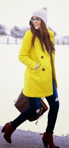 Yellow Snowfall Coat, Grey Knit Sweater, Ripped Jeans, Fashion Handbag, Cool Booties.