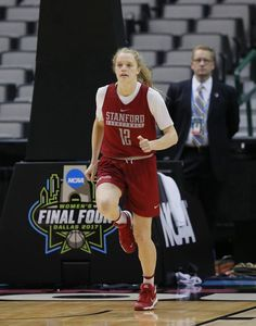 Stanford guard Brittany McPhee runs up court during practice for the women's NCAA Final Four college basketball tournament on Thursday in Dallas.