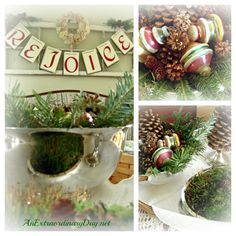 Collage of Greens, Pinecones, Moss, & Vintage Glass Balls - Merry Christmas House Tour - Inspired Decor - Rejoice B...