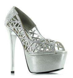 Silver 6' Heel Multi Rhinestone Lattice Open Toe Platform Pump, Cinderella Sparkly Wedding Shoes