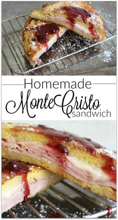 If you've had the Monte Cristo Sandwich you know it's made like French toast. Slices of ham and Swiss cheese between two slices of bread dipped in egg batter browned and sprinkled with powdered sugar. To top it off there is a dipping sauce.