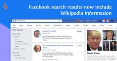 Facebook is testing a new feature in its search results. It is adding an extra level of insight by showing Wikipedia Knowledge Panel in certain search results. This could be Facebook's effort to fight against fake news.  #Facebook #WikipediaKnowledgePanel #sourcesoft Donald Trump House, Trump Home, Facebook Search, Social Media Services, Fake News, Effort, Insight, Knowledge, Ads