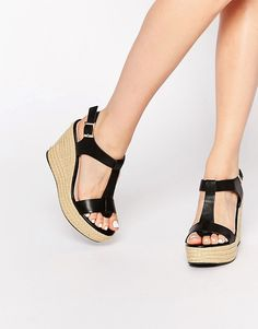 Image 1 ofDune Kali Black Leather Espadrille Wedge Sandals