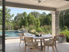 Did someone say lunch?  The outdoor space we completed has a kitchen, pool, water feature, and more! St. Louis Architects