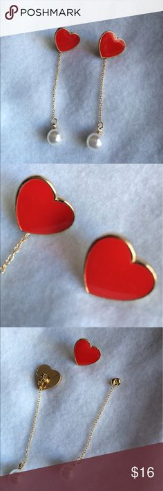"""Red heart & pearl earrings gold chainX3 Versatile Super cute red with pearl heart earrings. These can be worn 3 different ways! As shown, as a red heart post earring, or the chain can be added to one of your own earrings! These are alloy & faux pearl. Approx 3"""" with chain. Jewelry Earrings"""
