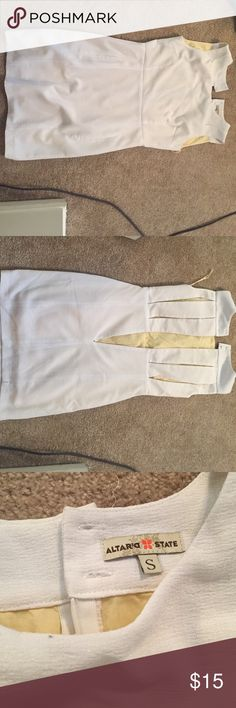 Alter'd State white dress, size small This is a cute dress with a cute back, cut with slits. Was worn only twice, for college graduation and Easter, so I'm practically new condition! Can easily be dressed up or down Altar'd State Dresses