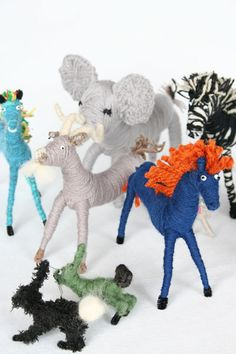 Hand Crafted Yarn Animals - A menagerie made in heaven. Meticulously hand crafted yarn animals, are made from recycled yarns, glass sea beads, pipe cleaners, thread and a very loving heart and wild imagination. By local artist Mary Rowe. Diy For Kids, Crafts For Kids, Arts And Crafts, Yarn Animals, Pipe Cleaner Crafts, Pipe Cleaners, Recycled Yarn, Textiles, Christmas Gifts For Women