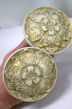 """Pair of Vintage French Provincial Cream and Gold Medallion Drapery / Curtain Panel Tie Backs - Wall Mounted - Made in Canada - 3.5"""" Diameter x 3.5"""" Projection from the Wall"""