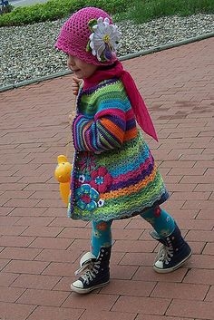 Crochet jacket - sometimes it's all about the colours.  Free Ravelry pattern