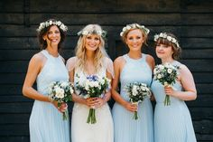 A pretty pale blue summer Barn wedding. The bride wears Jenny Packham and a floral crown. Image by Babb Photography.