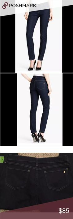 Kate Spade ♠️ Kate Spade ♠️ play hockey perry street jeans the skinny: KS updated our favorite jeans with a crisp denim, featuring a two-way stretch for a flattering fit. to get it just right, KS worked with  denim mill to create an exclusive material that conforms to the body without compromising shape. they're the perfect statement piece for a solid sweater or tee.  size 28 inseam 29 dark indigo color slim straight leg these have never been worn comes with tags  not attached kate spade…