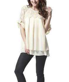 Love this Simply Couture Beige Lace Pleated Swing Top - Women by Simply Couture on #zulily! #zulilyfinds