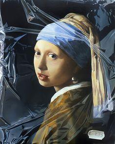 """""""Meisje van Vermeer in plastic"""" Art of Tjalf Sparnaay"""