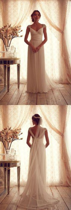 $149.99--Simple White Beach Anna Campbell Wedding Dresses Style 2014 Bridal Dresses Open Back vestidos de casamento