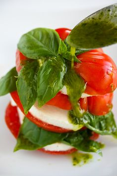 caprese salad with basil vinaigrette ... would need to find a substitute for the cheese...