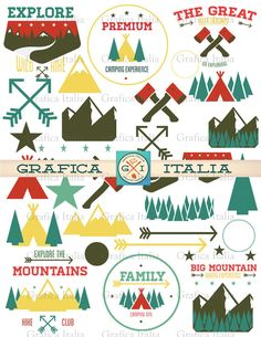 Camping ClipArt - Cabin Design Elements - Outdoors Clip art - Royalty-Free Digital Download (32) High-Resolution Transparent Background Printable