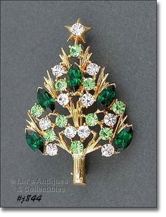 Eisenberg Ice Christmas Tree Pin with Dark Green by LinsAntiques